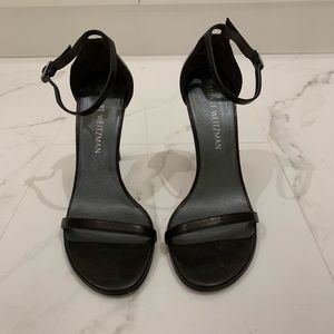 Stuart Weitzman Nudist Sandals in Black Leather